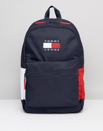 Tommy Jeans Nylon Backpack Icon Colors In Navy - Navy