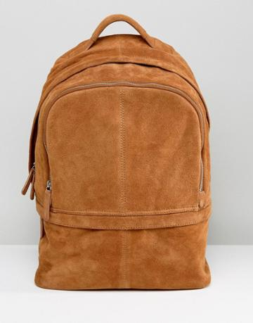 Asos Backpack In Suede In Tan - Tan