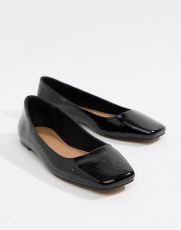 Asos Design Leaf Square Toe Ballet Flats - Black
