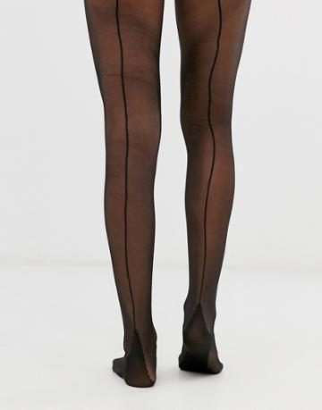 Asos Design Jive Back Seam Tights - Black
