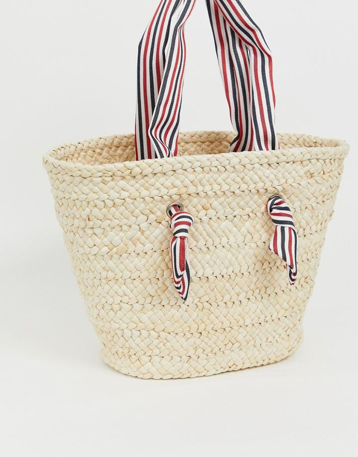 South Beach Straw Beach Bag With Striped Handle-beige
