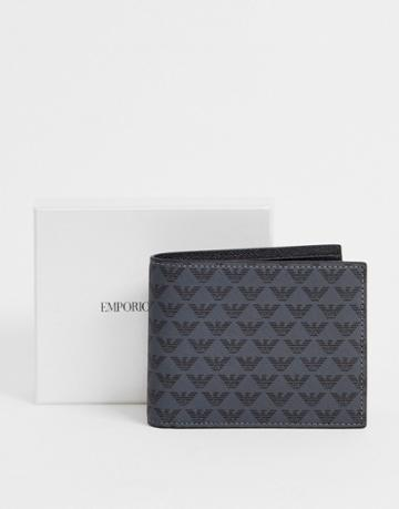 Emporio Armani All Over Eagle Bilfold Card Wallet In Black