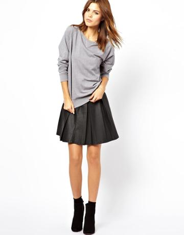 A Wear Leather Look Pleated Skater Skirt