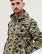Bershka Join Life Windbreaker Jacket With Hood In Camo - Green