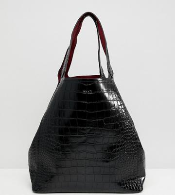 Inyati Thea Moc Croc Oversized Tote Bag - Black