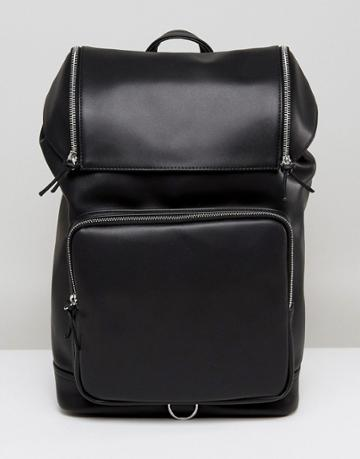 Asos Backpack In Faux Leather With Chunky Zip Details - Black