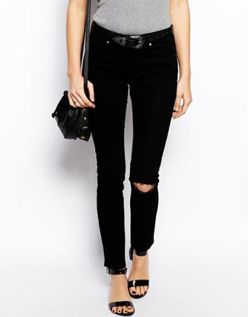 Asos Whitby Low Rise Skinny Jeans In Clean Black With Ripped Knee