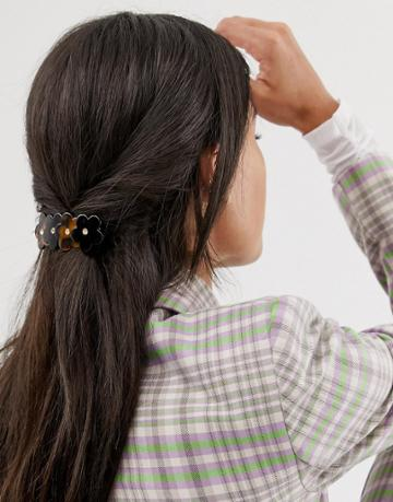 Margherita Tortoishell Floral Hair Clip - Brown