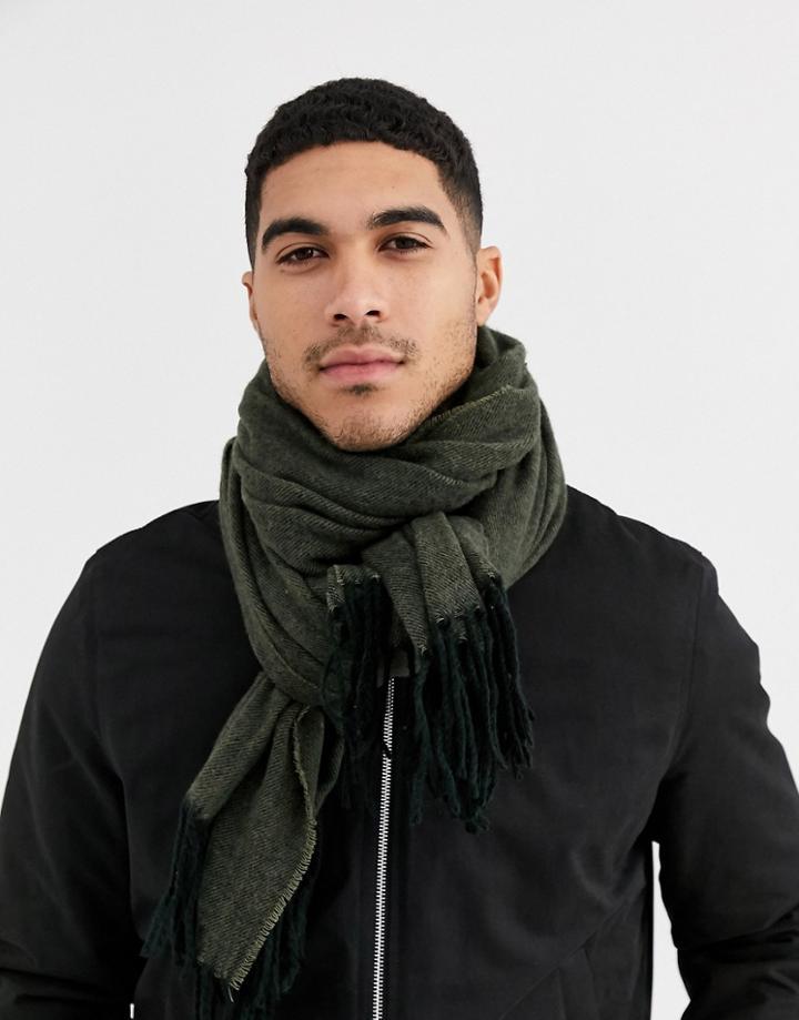 Asos Design Woven Blanket Scarf In Khaki Texture