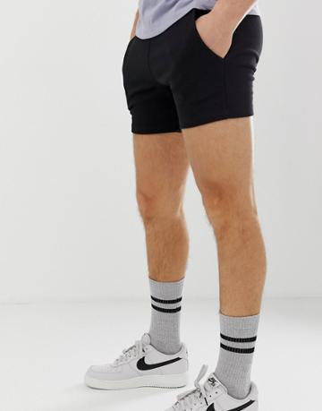 Asos Design Jersey Skinny Shorts In Shorter Length In Black - Black