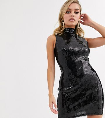 Tfnc High Neck Mini Sequin Dress In Liquid Black