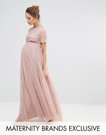 Maya Maternity Embellished Bodice Maxi Dress With Tulle Skirt - Pink