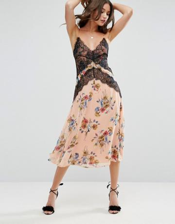 Asos Cami Dress With Lace Detail In Floral Print - Multi