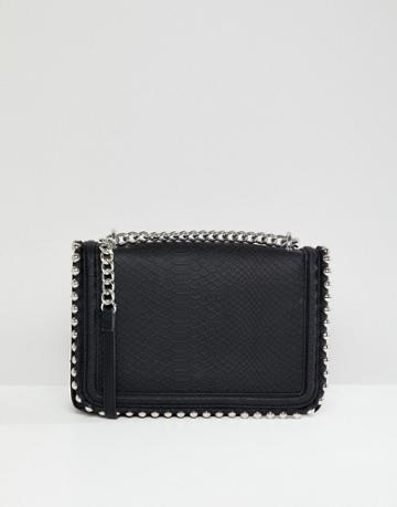 Aldo Stud Detail Snake Effect Cross Body Bag - Black
