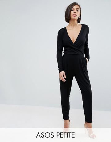 Asos Petite Wrap Jumpsuit - Black