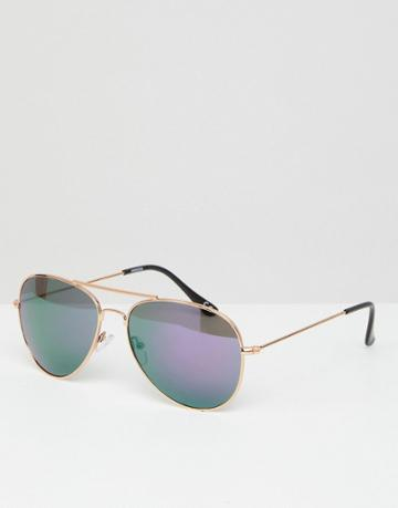 Asos Aviator Sunglasses In Gold Frame With Colored Mirrored Lens - Gold