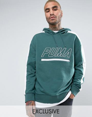 Puma Vintage Terry T7 Hoodie In Green Exclusive To Asos - Green