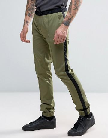 Asos Super Skinny Smart Tuxedo Joggers In Khaki - Green