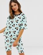 Asos Design Mickey Mouse Pyjama Legging Short Set - Green