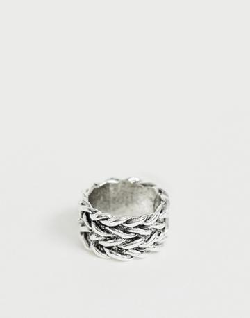 Designb Woven Metal Ring In Silver - Silver