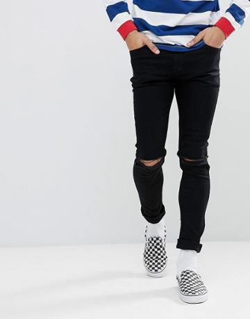 Asos Super Skinny Jeans In Black With Knee Rips - Black