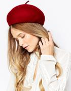 7x Structured Beret In 100% Wool - Red