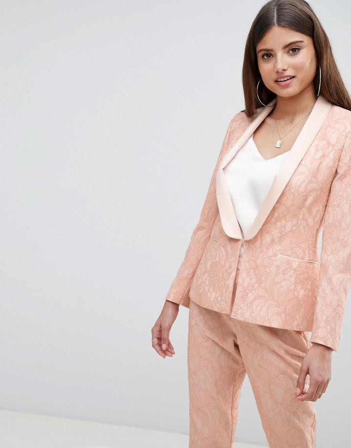 Asos Design Tailored Lace Blazer - Pink