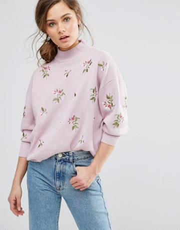 New Look Embroidered Sweater - Pink