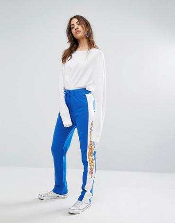 Daisy Street Relaxed Joggers With Flame Side Stripe - Blue