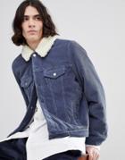 Asos Cord Western Jacket With Fleece Collar In Blue - Blue