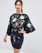 Asos Embroidered Kimono Sleeve Mini Dress - Navy