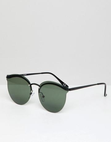 Asos Design Metal Round Sunglasses In Black With Green Lens - Black