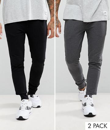 Asos Extreme Super Skinny Jogger 2 Pack Black/charcoal Marl Save - Multi