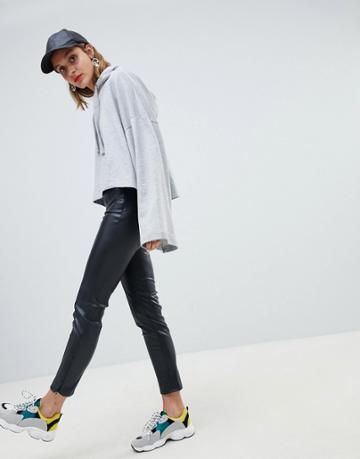 Mango Faux Leather Legging - Black