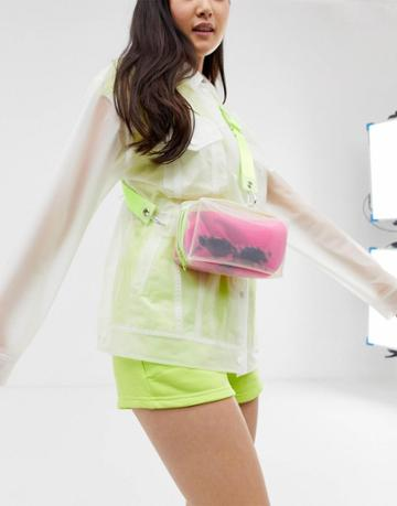 Asos Design Sling Bag In Plastic With Neon Detail - Clear
