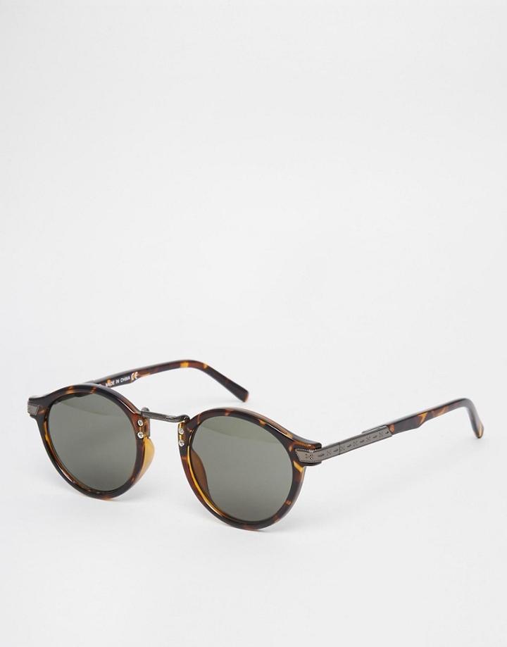 Asos Vintage Round Lens Sunglasses - Brown