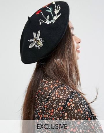 My Accessories Beret With Embroidered Patches - Black