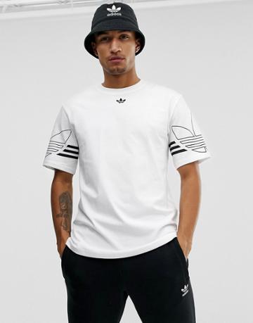 Adidas Originals T-shirt Outline Trefoil Logo In White - White