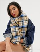 Asos Design Chunky Check Scarf In Camel And Blue