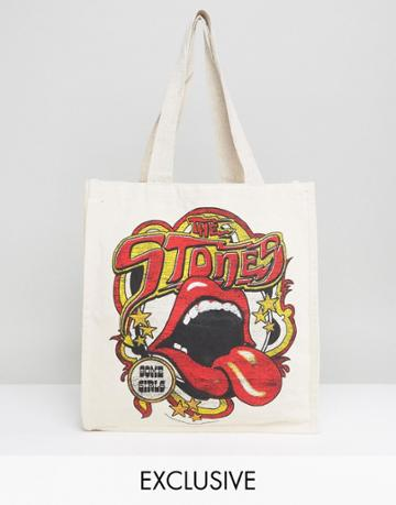 Reclaimed Vintage Inspired Tote Bag With Rolling Stones Print - White