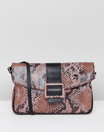 Asos Design Suede 90s Shoulder Bag In Snake - Multi