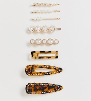 Asos Design Pack Of 8 Hair Clips In Mixed Tortoiseshell And Pearl Designs - Multi