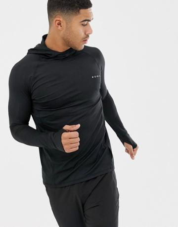 Asos 4505 Running Long Sleeve T-shirt With Hood In Black - Black