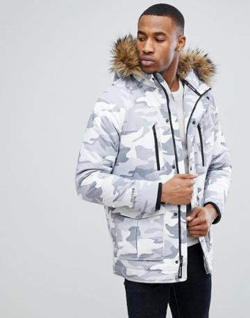 Hollister Padded Parka With Faux Fur Hood In Gray Camo - Gray