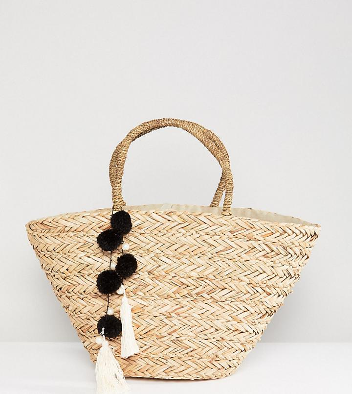 South Beach Straw Beach Bag With Black & White Pom - Beige