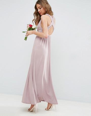 Asos Wedding Drape Twist Back Maxi Dress - Beige