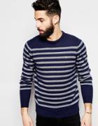 Farah Sweater With Breton Stripe - True Navy
