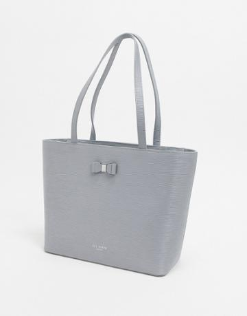 Ted Baker Deannah Bow Detail Leather Shopper Bag-gray