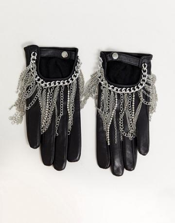 Asos Design Leather Touch Screen Gloves With Chain Detail-black