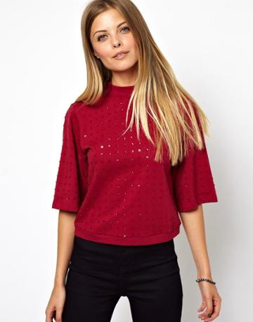 Asos Top In Sequin With Turtle Neck